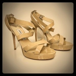 Auth Jimmy Choo nude tan strappy high heels 41 10